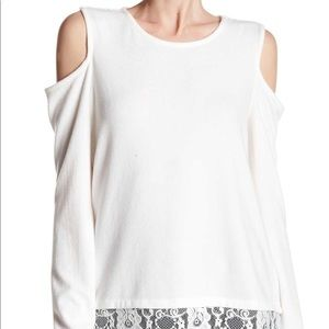 Vince Camuto Cold Shoulder Lace Trim Sweater Blous